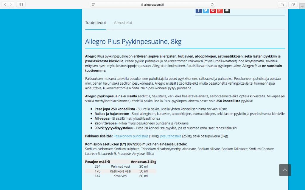 AllegroSuomi.fi verkkokaupassa on kirjoitettu hyvät tuotetekstit