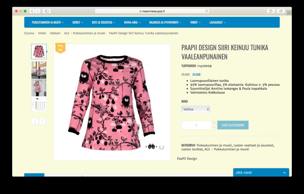 Maammekauppa.fi verkkokaupassa tuotekuviin on panostettu