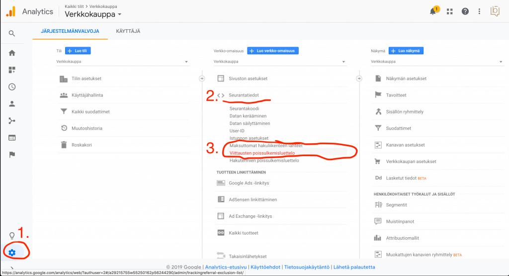 Google Analytics - Viittausten Poissulkemisluettelo